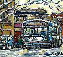 MONTREAL WINTER SCENE WAITING FOR THE 80 BUS by Carole  Spandau