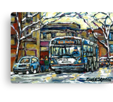 MONTREAL WINTER SCENE WAITING FOR THE 80 BUS Canvas Print