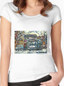 MONTREAL WINTER SCENE WAITING FOR THE 80 BUS Women's Fitted Scoop T-Shirt