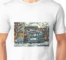 MONTREAL WINTER SCENE WAITING FOR THE 80 BUS Unisex T-Shirt