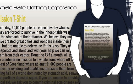 Whale Hate T-shirt 2 by Peter Osborne