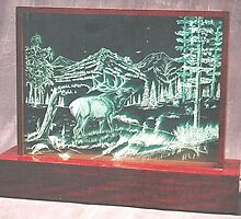 Elk Glass Etching by Gordon Pegler