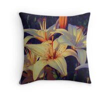 White Tiger Lilies at Dusk Throw Pillow