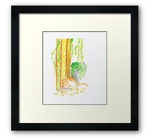 Biscuit under the willow. Framed Print