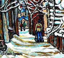 SHOVELLING AFTER THE SNOWSTORM MONTREAL CITY SCENE by Carole  Spandau