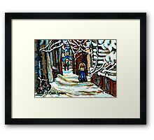 SHOVELLING AFTER THE SNOWSTORM MONTREAL CITY SCENE Framed Print