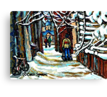 SHOVELLING AFTER THE SNOWSTORM MONTREAL CITY SCENE Canvas Print