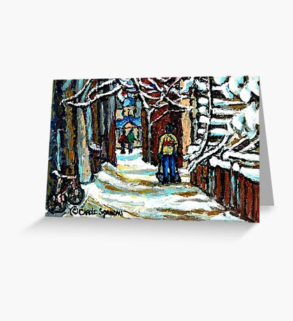 SHOVELLING AFTER THE SNOWSTORM MONTREAL CITY SCENE Greeting Card