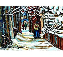 SHOVELLING AFTER THE SNOWSTORM MONTREAL CITY SCENE Photographic Print