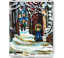 SHOVELLING AFTER THE SNOWSTORM MONTREAL CITY SCENE iPad Case/Skin