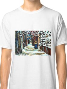 SHOVELLING AFTER THE SNOWSTORM MONTREAL CITY SCENE Classic T-Shirt