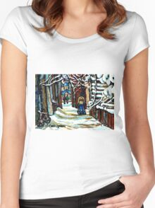 SHOVELLING AFTER THE SNOWSTORM MONTREAL CITY SCENE Women's Fitted Scoop T-Shirt