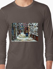 SHOVELLING AFTER THE SNOWSTORM MONTREAL CITY SCENE Long Sleeve T-Shirt