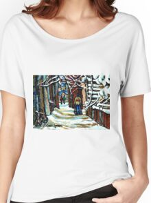 SHOVELLING AFTER THE SNOWSTORM MONTREAL CITY SCENE Women's Relaxed Fit T-Shirt