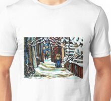 SHOVELLING AFTER THE SNOWSTORM MONTREAL CITY SCENE Unisex T-Shirt