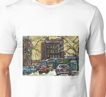 ON THE ROAD AGAIN MONTREAL CARS IN THE WINTER Unisex T-Shirt
