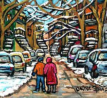 WINTER STROLL IN JANUARY VERDUN MONTREAL CITY STREETS by Carole  Spandau