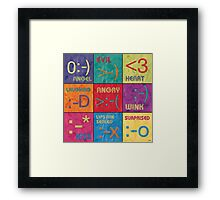 Emoticons Patch Framed Print