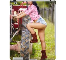 Sexy farmer girl in hat near the tractor iPad Case/Skin