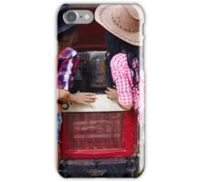 Sexy female farmers fixing the tractor iPhone Case/Skin