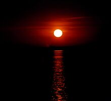 Crimson Sunset (Lake Michigan) by mikrin