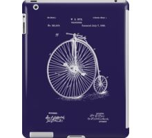 Bicycle - High Wheel - 1885 Nye Velocipede Patent - Blue iPad Case/Skin