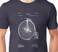 Bicycle - High Wheel - 1885 Nye Velocipede Patent - Blue Unisex T-Shirt