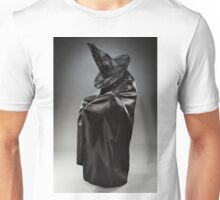 Witch wearing black attire with face hidden Unisex T-Shirt