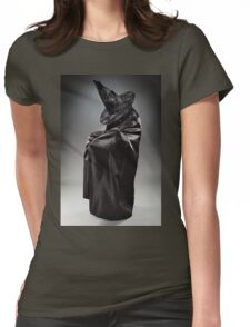 Witch wearing black attire with face hidden Womens Fitted T-Shirt
