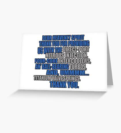 jesse says grace: car part thanks - version 2 - blue Greeting Card