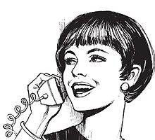 Vintage - Woman on landline phone by cool-tshirt-bro