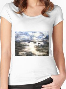 Sail Boats on The Mud Flats Women's Fitted Scoop T-Shirt