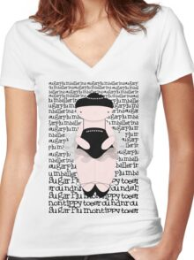 Sugar Plum on Tippy Toes Women's Fitted V-Neck T-Shirt