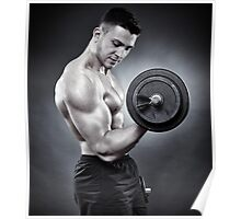 Athletic man working out with heavy dumbbells Poster