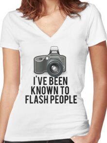 Flash People Funny Photographer Women's Fitted V-Neck T-Shirt