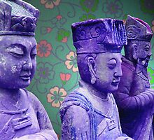 three blue buddhas by Janissa Walters