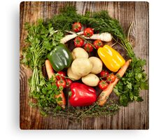 Vegetables and herbs nest arrangement Canvas Print