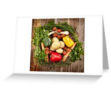 Vegetables and herbs nest arrangement Greeting Card