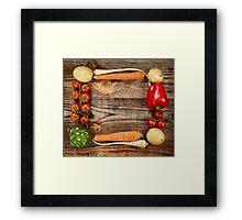 Vegetables frame on wooden board Framed Print