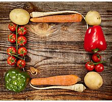Vegetables frame on wooden board Photographic Print