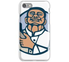 Barber Hair Clipper Scissors Circle Linocut iPhone Case/Skin