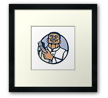 Barber Hair Clipper Scissors Circle Linocut Framed Print