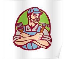 Builder Carpenter Paintbrush Hammer Linocut Poster