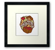 Organic Farmer Tomato Basket Woodcut Linocut Framed Print