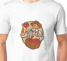 Organic Farmer Tomato Basket Woodcut Linocut Unisex T-Shirt