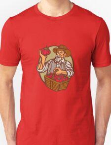 Organic Farmer Tomato Basket Woodcut Linocut T-Shirt