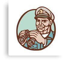 Navy Admiral Binoculars Circle Linocut Canvas Print