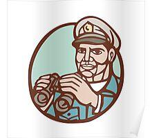 Navy Admiral Binoculars Circle Linocut Poster
