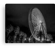 Geelong Ferris Wheel At Night In Black And White Canvas Print