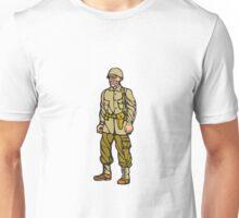 World War Two Soldier Standing Linocut Unisex T-Shirt